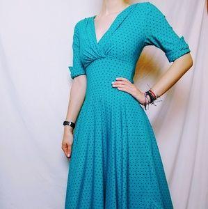 Blue and Black Polka Dot Midi Vintage Dress